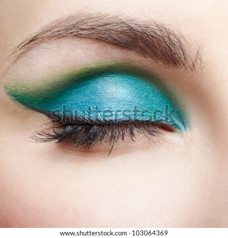closeup portrait of young beautiful woman eye zone make up - stock photo