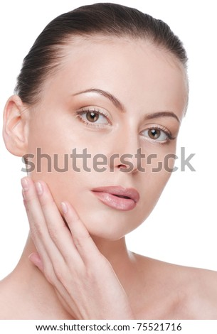 Closeup portrait of young beautiful woman with perfect skin