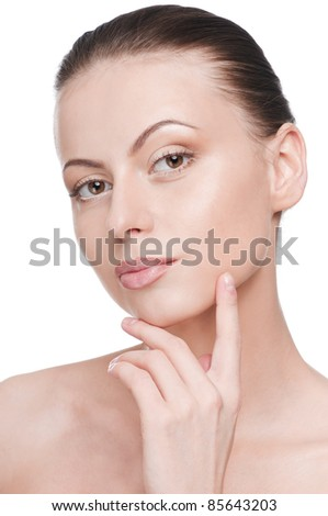 Closeup portrait of young beautiful woman with perfect skin - stock photo