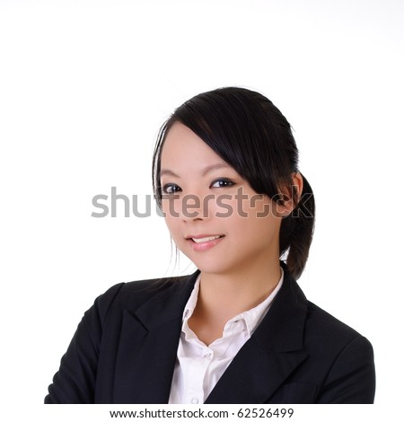 Closeup portrait of young business woman smiling on white background. - stock photo