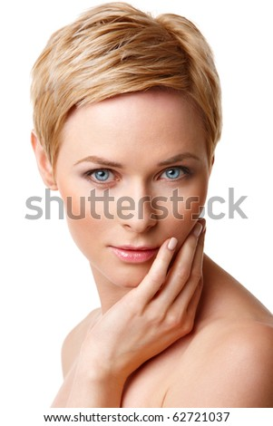 Closeup portrait of young caucasian woman with perfect skin - stock photo