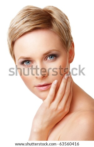 Closeup portrait of young caucasian woman with perfect skin