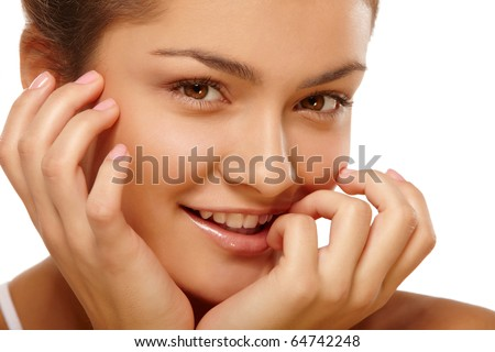 Closeup portrait of young girl over isolated white background - stock photo