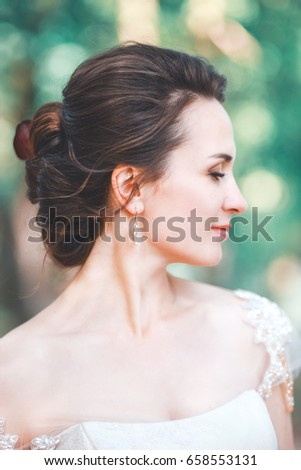 Closeup Portrait Of Young Gorgeous Bride Outdoor Wedding Makeup And Hairstyle