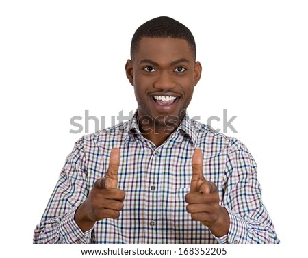 Closeup portrait of young handsome man with two hands guns sign gesture pointing at you, isolated on white background. Positive human emotion facial expression feelings, signs and symbols - stock photo