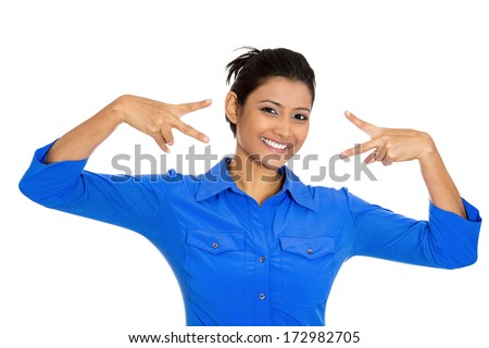 Closeup portrait of young happy smiling confident excited woman giving peace victory or two sign gesture, isolated on white background. Positive emotion facial expression feelings symbols, attitude