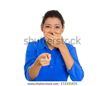 Closeup portrait of young laughing pretty, excited, happy woman pointing at you camera gesture with finger, isolated on white background. Positive emotion facial expression feelings, body language - stock photo