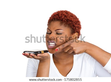 Closeup portrait of young mad, frustrated angry woman yelling while on a phone isolated on white background. Negative human emotions, facial expressions, feelings. Communication, conflict resolution - stock photo