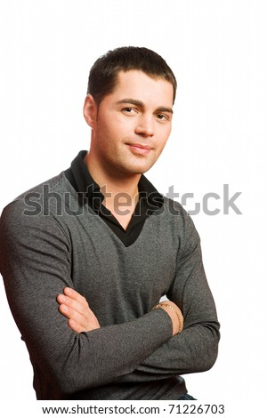 Closeup portrait of young man isolated on white - stock photo