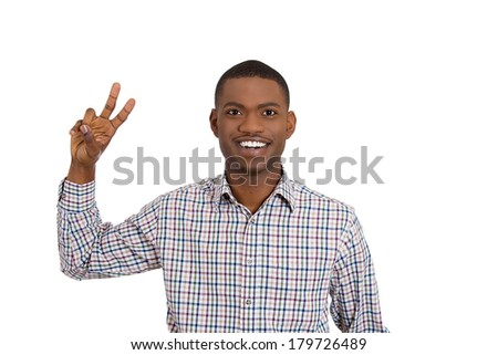 Closeup portrait of young man, student holding up peace, victory, two sign , isolated on white background. Positive human emotions, facial expressions, symbols, attitude, communication. Life success - stock photo