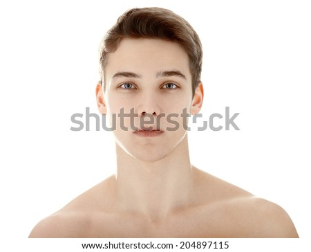 Closeup portrait of young man with health clean skin isolated on white background - stock photo