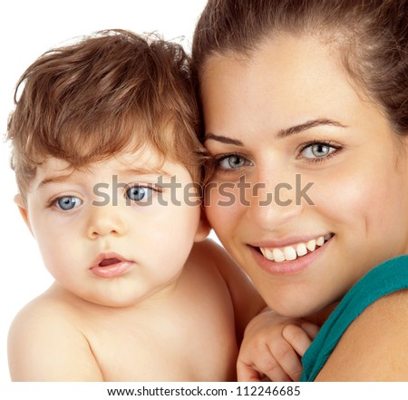 Closeup portrait of young mother and baby boy isolated on white background, cheerful mommy hugging son, adorable infant loving mum, smiling happy woman hold her child on hands, family love concept - stock photo