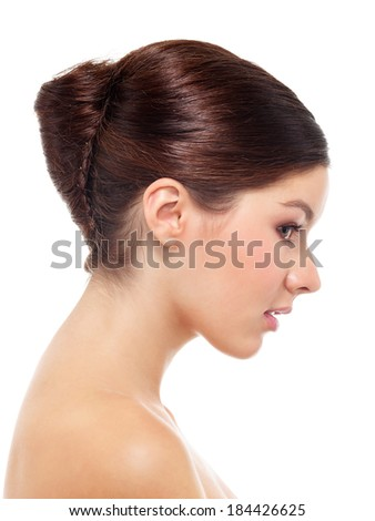 Closeup portrait of young olive skin girl over isolated white background