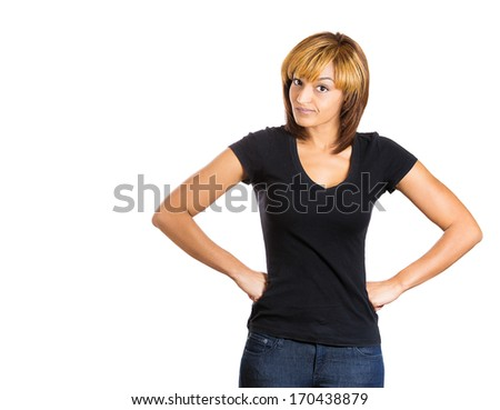 ... bad boy, isolated on white background. Negative human emotion facial