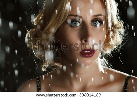 Closeup portrait of young sensuality beautiful woman under the stream of water. Black background.