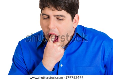 Closeup portrait of young sick man, funny looking boy sticking finger in mouth about to throw up, show something sucks isolated on white background. Negative human emotion, feelings, facial expression - stock photo