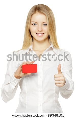 Closeup portrait of young smiling business woman holding credit card and showing thumb up sign, isolated on white background - stock photo