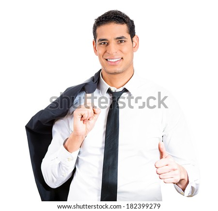 Closeup portrait of young, smiling, confident man holding black suit over shoulder and thumbs up, isolated white background. Positive human facial expressions, emotions, feelings, attitude, perception - stock photo