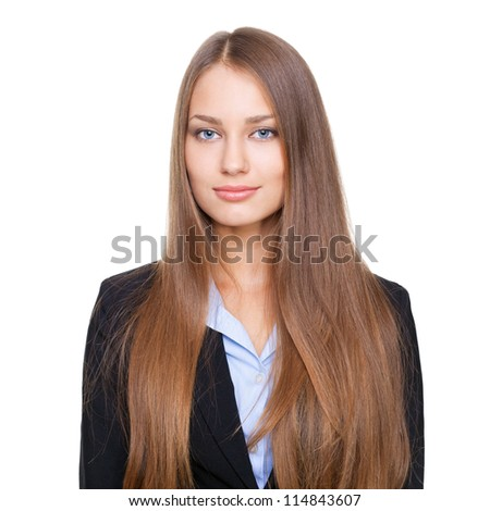 Closeup portrait of young successful businesswoman isolated on white background