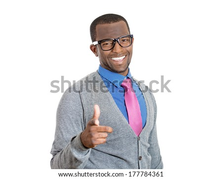 Closeup portrait of young upbeat smiling man with big glasses, pointing with index finger at you gesture, isolated on white background. Positive human emotion facial expression feelings, sign, symbol - stock photo