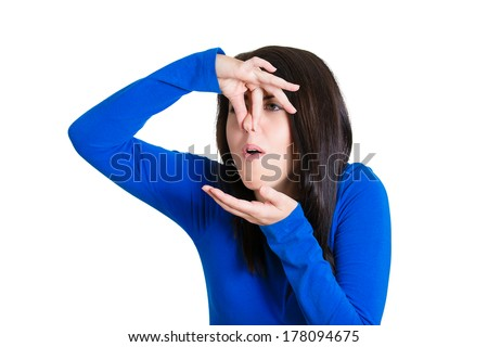 Closeup portrait of young woman covers her nose, looking funny, something stinks, very bad smell, situation, isolated on white background. Negative human emotions, face expressions, reaction, attitude - stock photo