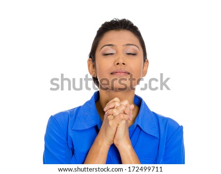Closeup portrait of young woman eyes closed, praying, hoping for the best, asking for forgiveness, miracle isolated on white background. Positive human emotions, facial expressions, feelings. - stock photo