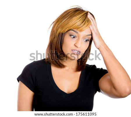 Closeup portrait of young woman who made mistake, hand on head, and is thinking how to correct the problem, isolated on white background. Negative human emotion facial expression feelings, situation. - stock photo