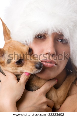 closeup portrait of young woman with dog on white