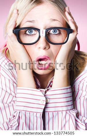 Closeup portrait on the head of a distraught female business employee gripping face with a exclamation mark of terror - stock photo