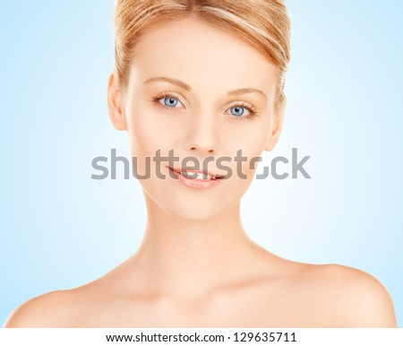 closeup portrait picture of beautiful woman face - stock photo