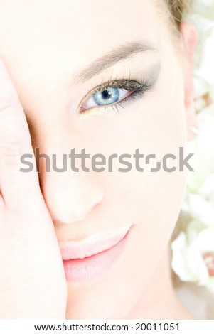 closeup portrait picture of lovely blue-eyed woman