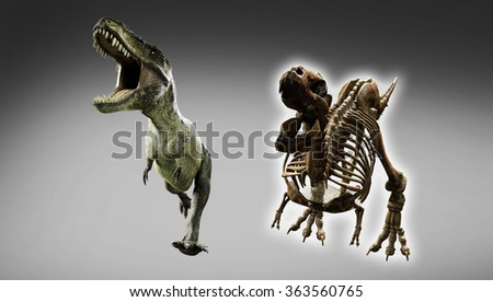 closeup portrait realistic dinosaur Tyrannosaurus beside him with a visualization of the skeleton - stock photo