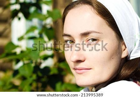 Closeup portrait russian girl  - stock photo