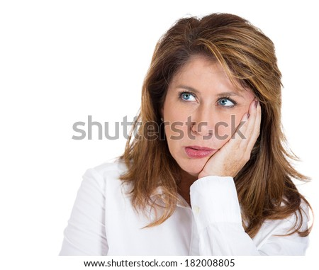 Closeup portrait sad, alone, dark, gloomy, frustrated, stressed, depressed, middle age mature woman, having bad nightmare day. Negative human emotions, facial expressions, feelings, life perception - stock photo