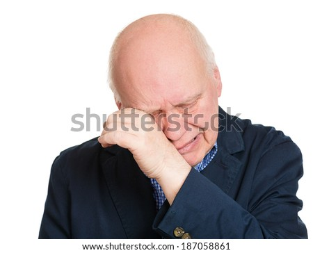Closeup portrait sad senior business man, lonely grandfather, depressed looking guy, very upset, crying, isolated white background. Human face expressions, emotion, reaction, attitude, life perception - stock photo