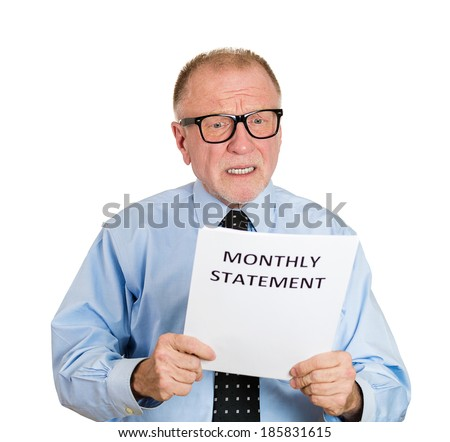Closeup portrait, sad, shocked funny looking senior mature nerd man upset, monthly statement, isolated white background. Negative human emotion facial expression feelings. Financial crisis, bad news - stock photo