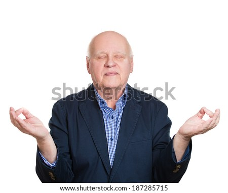Closeup portrait, senior bald, mature man in meditation zen mode closed eyes, isolated white background. Stress relief techniques concept. Positive human emotions, facial expressions, signs - stock photo
