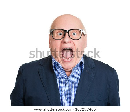 Closeup portrait senior, elderly man in glasses, looking shocked, surprised in full disbelief, wide open mouth, eyes, isolated white background. Human emotions, facial expressions, feelings, reaction - stock photo