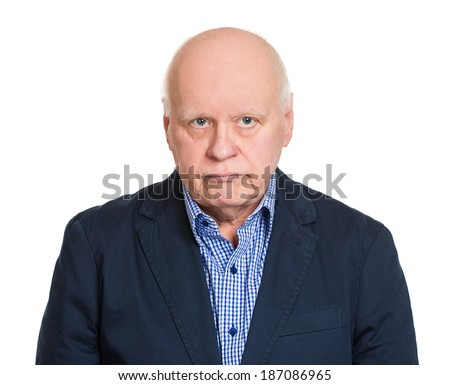 Closeup portrait, senior elderly mature depressed man really sad, deep in thought, thinking realizing truth, looking at you, isolated white background. Human face expression emotion feeling, reaction - stock photo