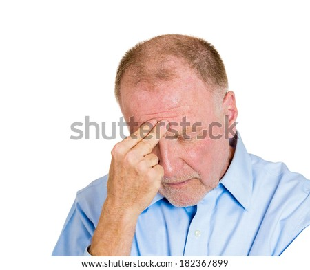 Closeup portrait senior, elderly, mature man, confused old sad business man, troubled, deep thought, isolated white background. Human emotions, facial expressions, life perception, aging, depression - stock photo
