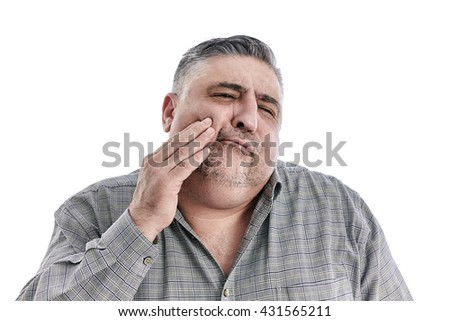 Closeup portrait senior man with sensitive tooth ache, hand on mouth, isolated white background. Negative human emotion, facial expressions, feelings