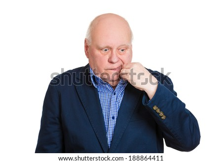 Closeup portrait, senior mature business man opening shirt to vent, its hot, unpleasant, awkward situation, embarrassment. Isolated white background. Negative human emotion, facial expression, feeling - stock photo