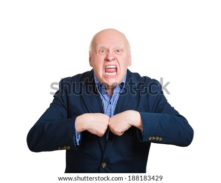 Closeup portrait, senior mature business man, pissed off, asking question you talking to, mean me? Isolated white background. Negative human emotions, facial expressions, feelings, reaction