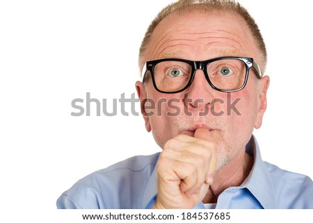Closeup portrait, senior mature man with  finger in mouth, sucking thumb, biting fingernail in anxiety, stress, deep in thought, isolated white background. Negative emotion, facial expression, feeling