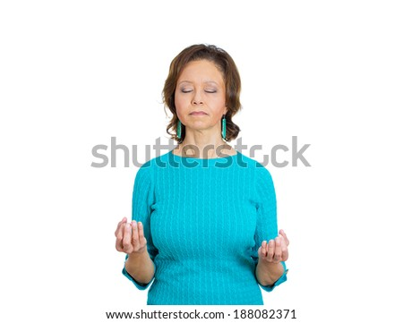 Closeup portrait, senior mature woman relaxing, meditating, in zen mode, isolated white background. Positive human emotion, facial expression, attitude, perception of life, situation, signs symbol - stock photo