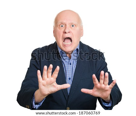 Closeup portrait shocked, surprised, helpless senior mature man raising hand up to say, scream no stop right there, isolated white background. Negative emotion facial expression feelings, sign, symbol - stock photo