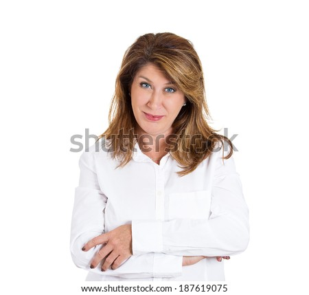 Closeup portrait, skeptical mature lady, woman looking suspicious, arms crossed, looking with disgust, disapproval, isolated white background. Negative human emotion, facial expressions, feelings - stock photo