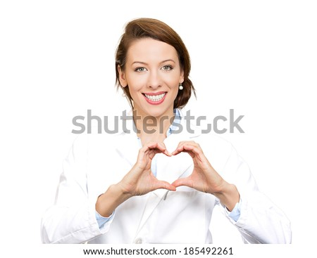 Closeup portrait smiling, cheerful health care professional, pharmacist, dentist, nurse making heart sign with hands, isolated white background, clipping path. Positive human emotions,expressions - stock photo