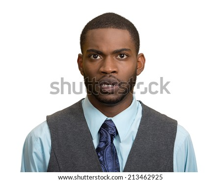 Closeup portrait speechless, insulted shocked, stunned surprised young man, in disbelief isolated white background. Negative human emotion, facial expression, bad feelings, body language, panic attack - stock photo