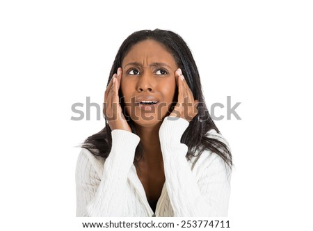 Closeup portrait stressed middle aged woman with headache holding head - stock photo